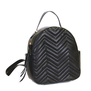 (CTJY-0021 BK) Handbag Republic Quilted Chevron Mini backpack in black.