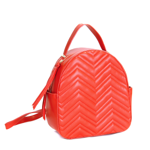 (CTJY-0021 RD)Handbag Republic Quilted Chevron Mini backpack in red.