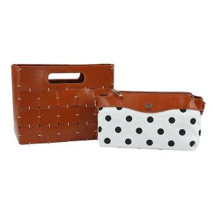 Handbag Republic D-0594 2 in 1 crossbody polka dot brown