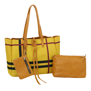 Handbag Republic D-0627 3 in 1 plaid reversible shoppers tote bag tan yellow