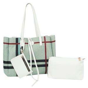 Handbag Republic D-0627 3 in 1 plaid reversible shoppers tote bag white mint