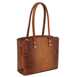Handbag Republic DX-0108 croc top handle satchel brown