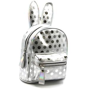 Polka dot bunny ears mini backpack unica EBP-1165 silver