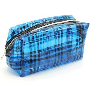 Plaid transparent cosmetic bag unica ECB-6710A blue