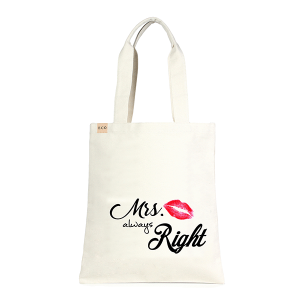 LOF ECO-234 shopping tote Mrs Always Right beige