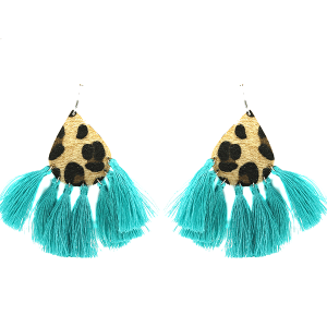 Earring 1838H 18 Treasure tear drop shape leopard tassel earring turquoise