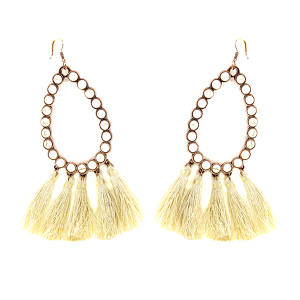 Earring 2065C 18 Treasure stone tear drop hoop tassel earring ivory