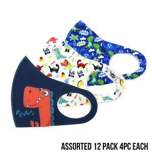 Kids Mask 12 pack assorted dinosaur multi