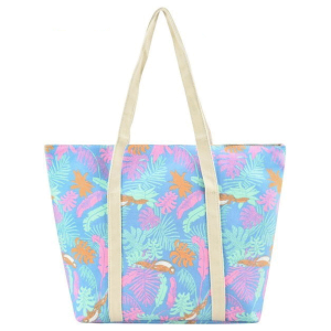af fc0053-2 beach tote leaves light blue
