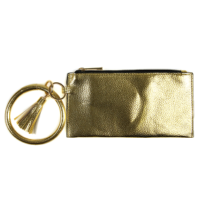 Wallet FGB022 Story By Davinci wrist zip wallet metallic gold