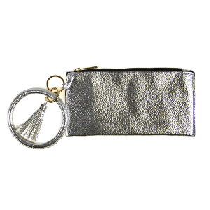 Wallet FGB022 Story By Davinci wrist zip wallet metallic silver