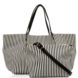 Vieta FL 1622 Ivanna shoulder tote stripe black
