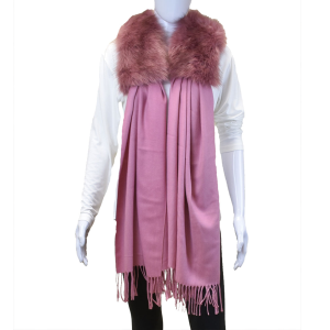 Scarf 435 Fur Collar Rectangle Dangle scarf mauve