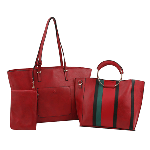 Handbag Republic FV-0310 3in1 tote stripe set red