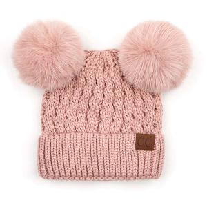 Winter CC Beanie 394 double pom cable knit rose