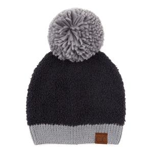 Winter CC Beanie 320a 82 knit sherpa yarn pom black