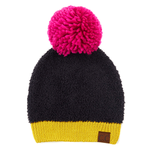 Winter CC Beanie 327a 82 knit sherpa yarn pom black multi