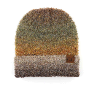 Winter CC Beanie 046a ombre mohair cuff taupe mix
