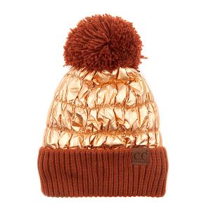 Winter CC Beanie 292a 82 puffy knit pom metallic rose gold