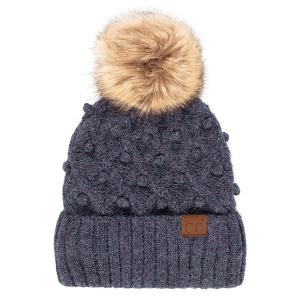 Winter CC Beanie 337c bobble knit fur pom dark denim mix