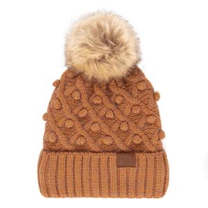 Winter CC Beanie 310b bobble knit fur pom ginger brown
