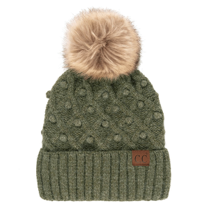 Winter CC Beanie 300a bobble knit fur pom moss mix
