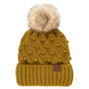 Winter CC Beanie 309a bobble knit fur pom mustard mix