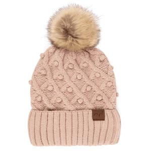 Winter CC Beanie 312a bobble knit fur pom rose
