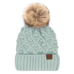 Winter CC Beanie 321a bobble knit fur pom winter mint