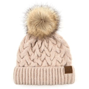 Winter CC Beanie 347a cable knit pom beige