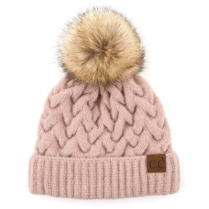 Winter CC Beanie 387 cable knit pom dusty rose