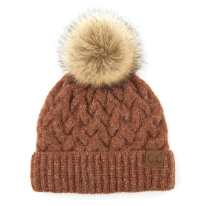 Winter CC Beanie 341a cable knit pom ginger brown