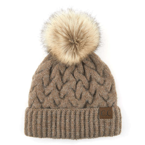 Winter CC Beanie 093g cable knit pom taupe