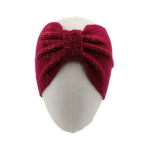 Winter Headband 179 03 Justin & Taylor metallic gold accent knit headband burgundy