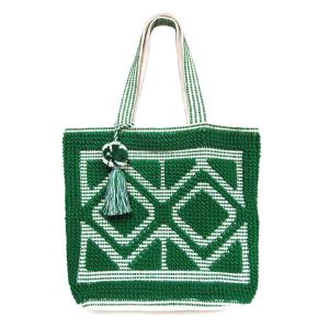 Mika HB268 woven tassel tote green