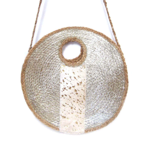 Mika HB676 round woven natural fur tote gold