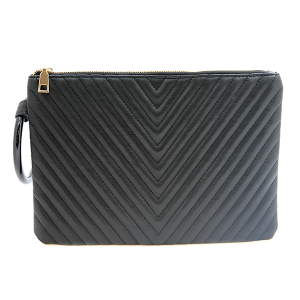 Nima HBG 103034 quilted chevron clutch black