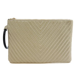 Nima HBG 103034 quilted chevron clutch gold
