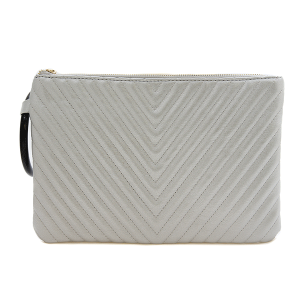 Nima HBG 103034 quilted chevron clutch silver