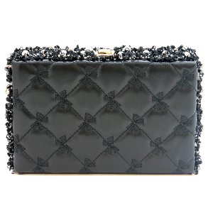 Nima HBG 103183 quilted hard case clutch black