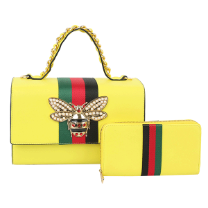 Handbag Republic HG 0064W 2 in 1 satchel bee stripe neon yellow