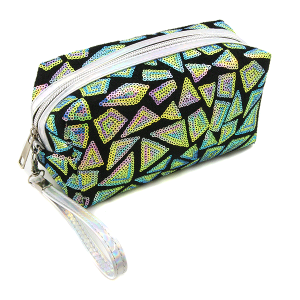 Nima HM00468 cosmetic pouch geometric sequin green