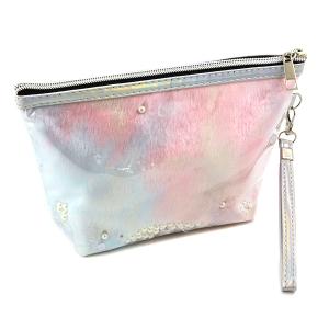 Nima HM00472 cosmetic pouch pearl sequin fur blue