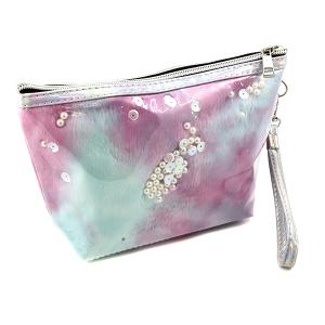 Nima HM00472 cosmetic pouch pearl sequin fur purple