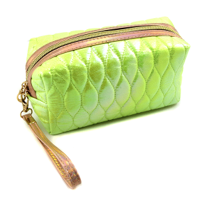 Nima HM00473 cosmetic pouch iridescent quilted stitch green