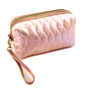 Nima HM00473 cosmetic pouch iridescent quilted stitch pink