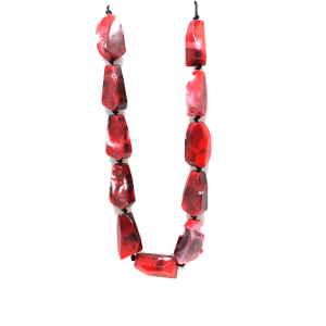 Necklace 2075B 58 Juveloj string stone necklace red