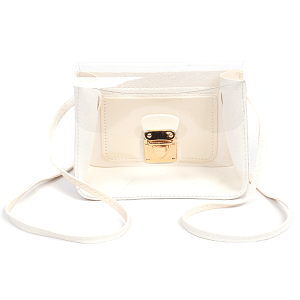 3AM HPC3074 clear shoulder bag crossbody bag white
