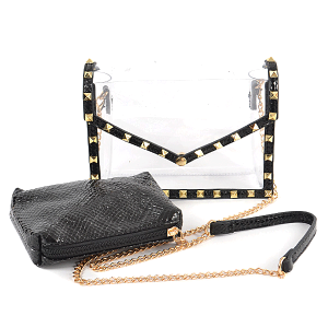 3AM HPC3100 2in1 clear crossbody clutch studded python snake black