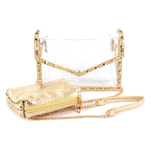 3AM HPC3100 2in1 clear crossbody clutch studded python snake gold